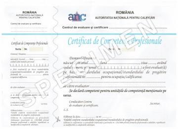 Specimen Certificat Calificari Profesionale